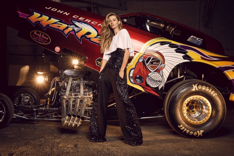 Posing with a painted car, Gisele Bundchen fronts Rosa Cha winter 2019 campaign