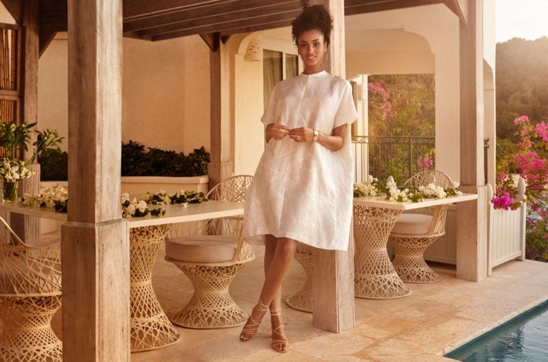 Imaan Hammam poses in H&M jacquard pattern tunic