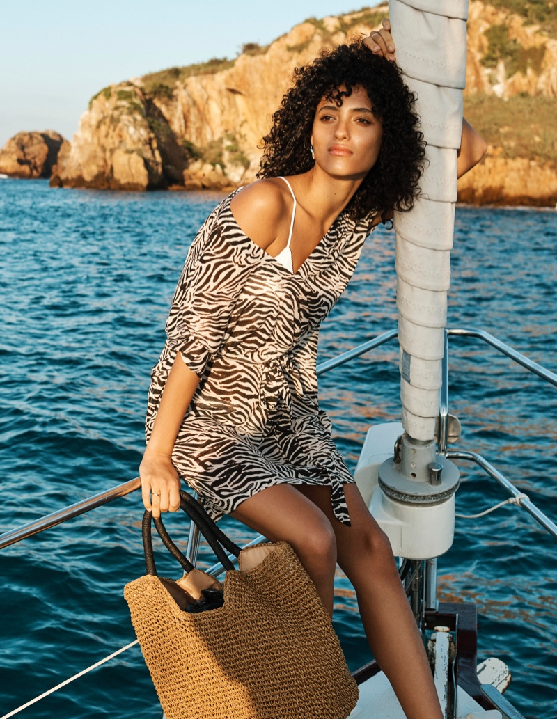 Melodie Vaxelaire wears H&M Swimwear 2019 Collection