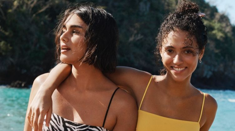 Melodie Vaxelaire and Jill Kortleve pose in H&M Swimwear's 2019 Collection