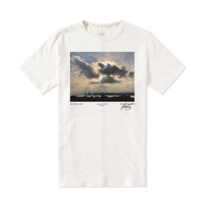 Limited edition Rag & bone white tee designed by Helena Christensen