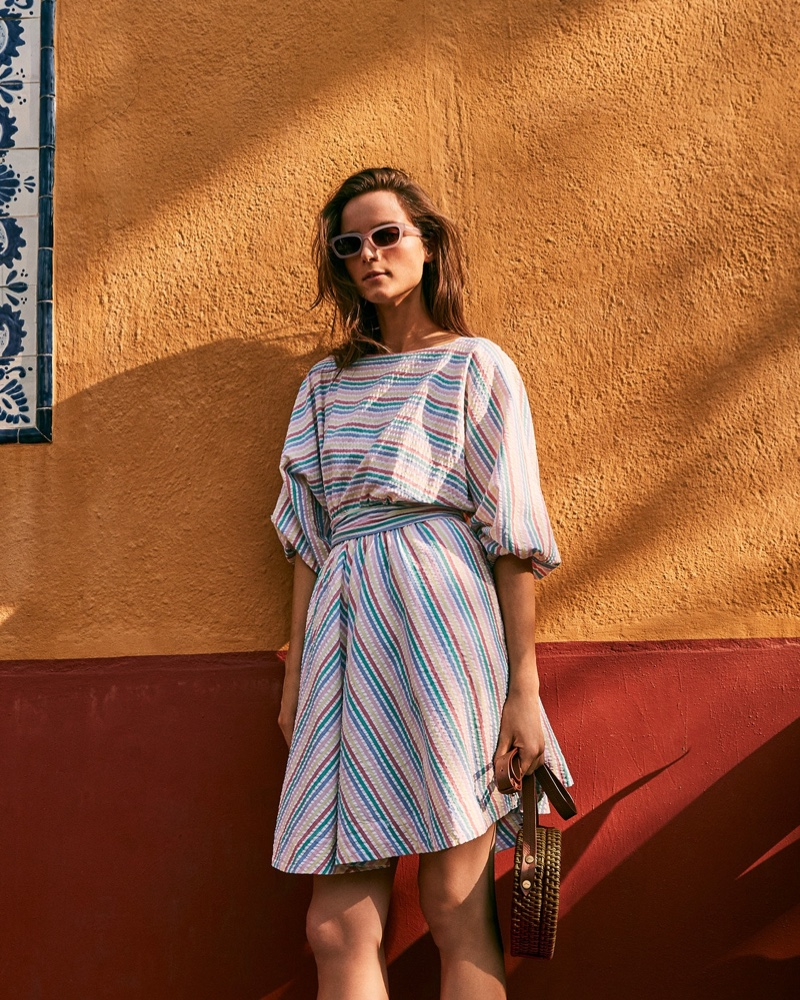 J. Crew Dolman-Sleeve Mini Dress $118, Saltwater Sunglasses $55 and Straw Circle Crossbody Bag $128
