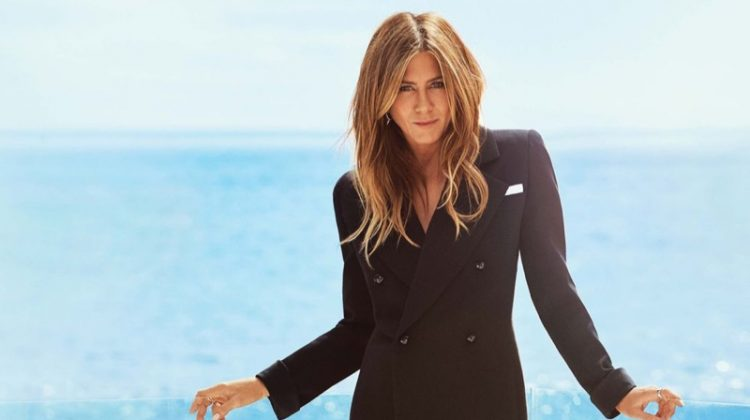 Dressed in Saint Laurent, Jennifer Aniston flaunts her legs