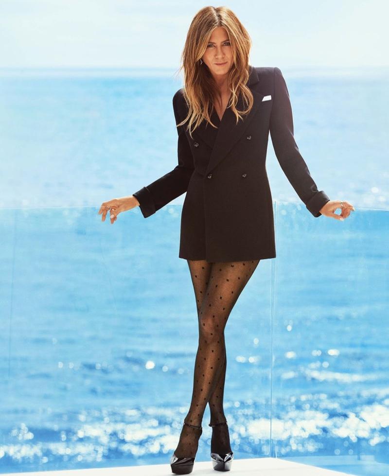 Dressed in Saint Laurent, Jennifer Aniston flaunts her legs