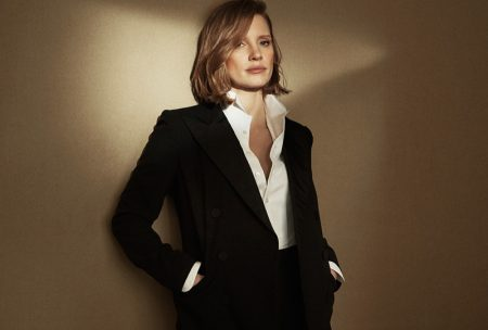 Suiting up, Jessica Chastain poses for Ralph Lauren Woman Intense fragrance advertisement