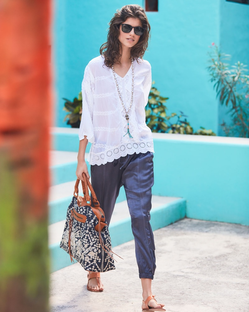Johnny Was Miliana Georgette Tunic $260, Satin Cargo Pants $180 and Mela Embroidered Tote Bag $355