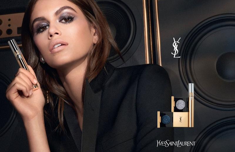 Kaia Gerber stars in YSL Beauty Sequin Crush Mono Eyeshadow campaign