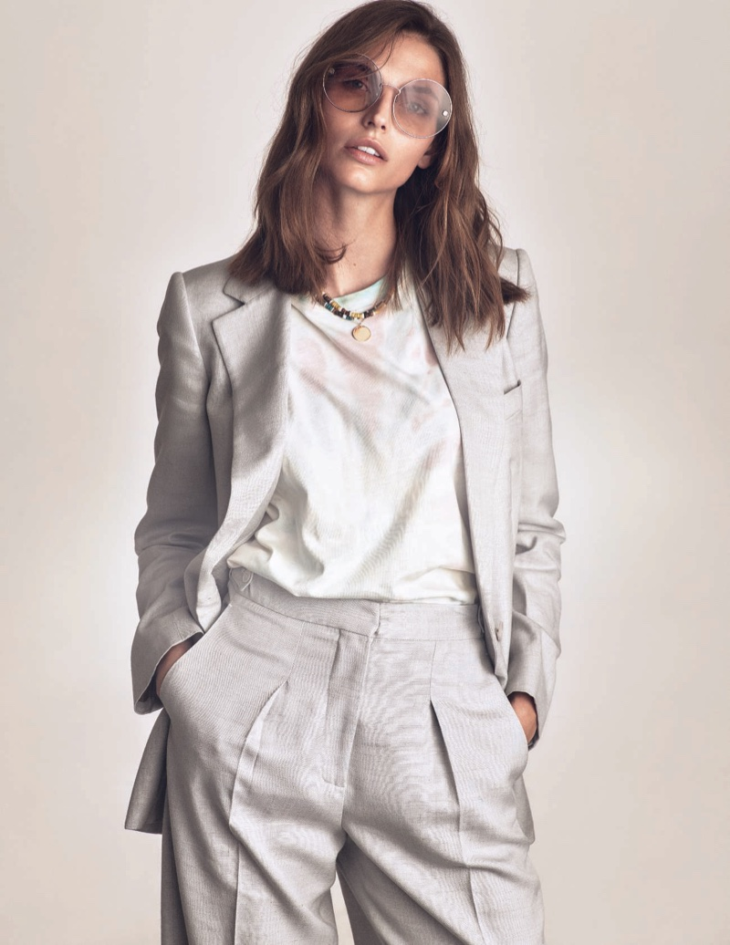 Karlina Caune Poses in Effortlessly Chic Looks for ELLE Italy