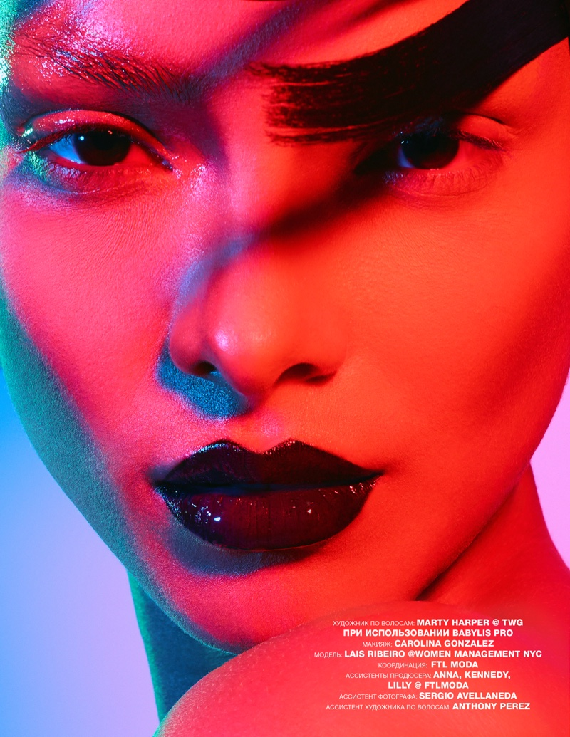 Lais Ribeiro Poses in Bold Beauty Looks for Numero Russia