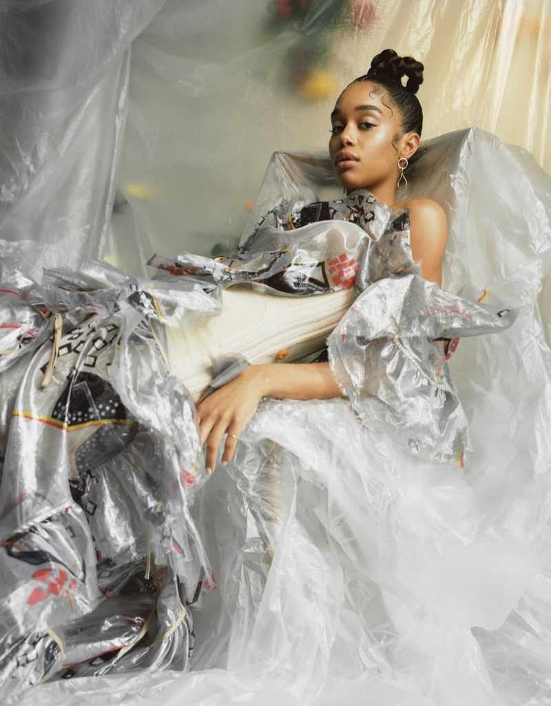 Surrounded by plastic, Laura Harrier wears a fashion forward design. Photo: Mary Rozzi