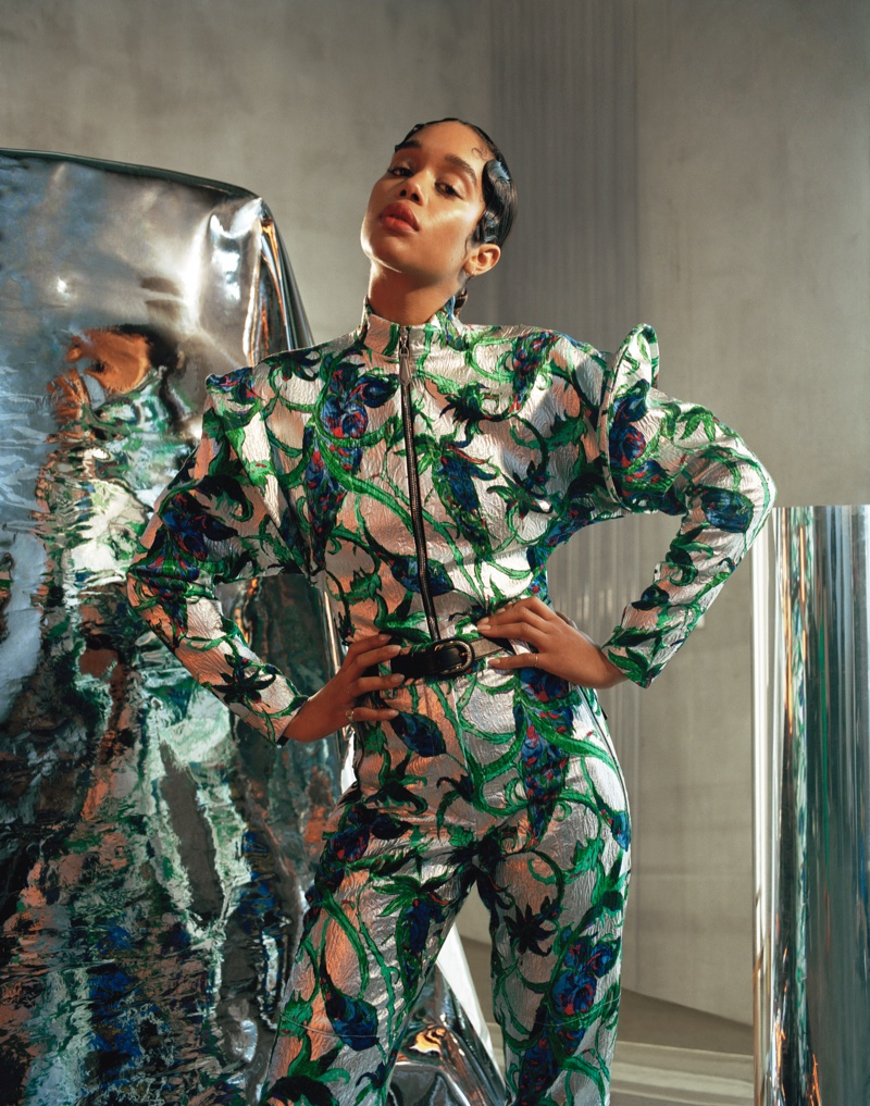 Striking a pose, Laura Harrier wears metallic Louis Vuitton jumpsuit. Photo: Mary Rozzi