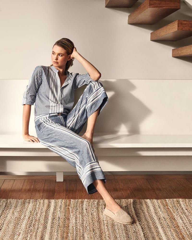 Model Behati Prinsloo poses in stripes from Lauren Ralph Lauren summer 2019 collection