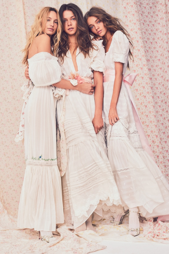 Models Maya Stepper, Alannah Walton and Maya Stepper front LoveShackFancy summer 2019 collection