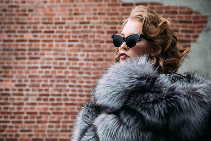 Luxury Fur Coat Model Sunglasses