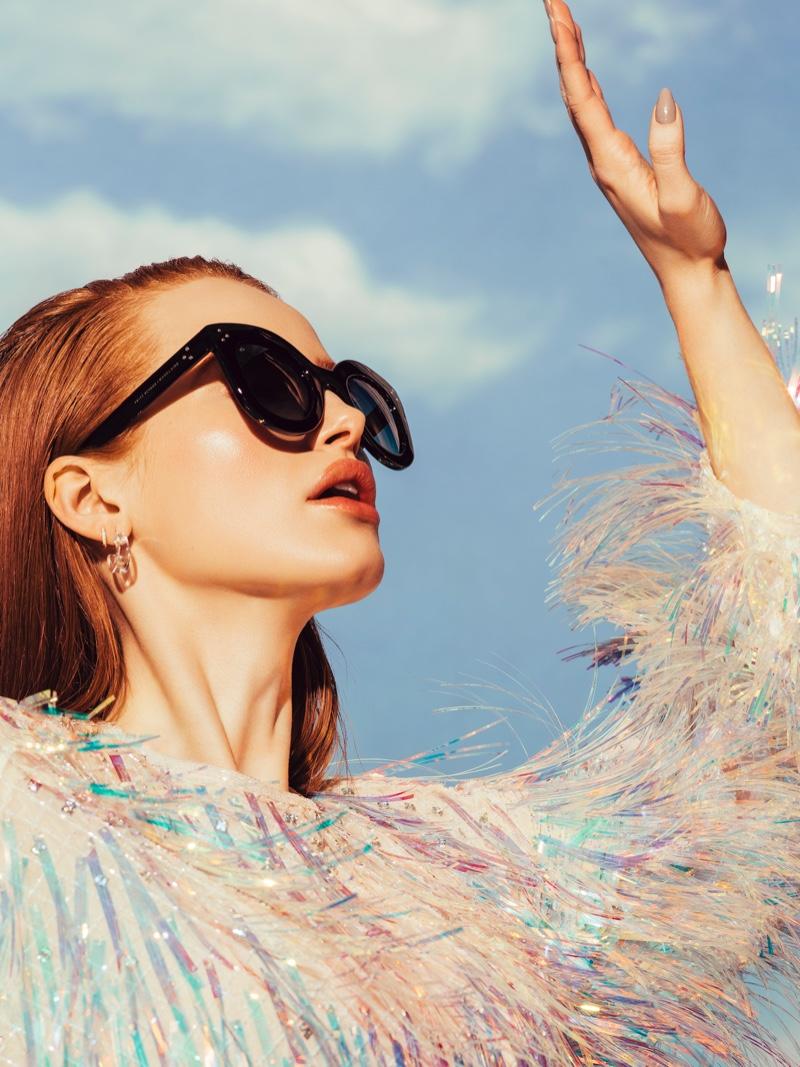 Actress Madelaine Petsch wears Prive Revaux Monroe sunglasses