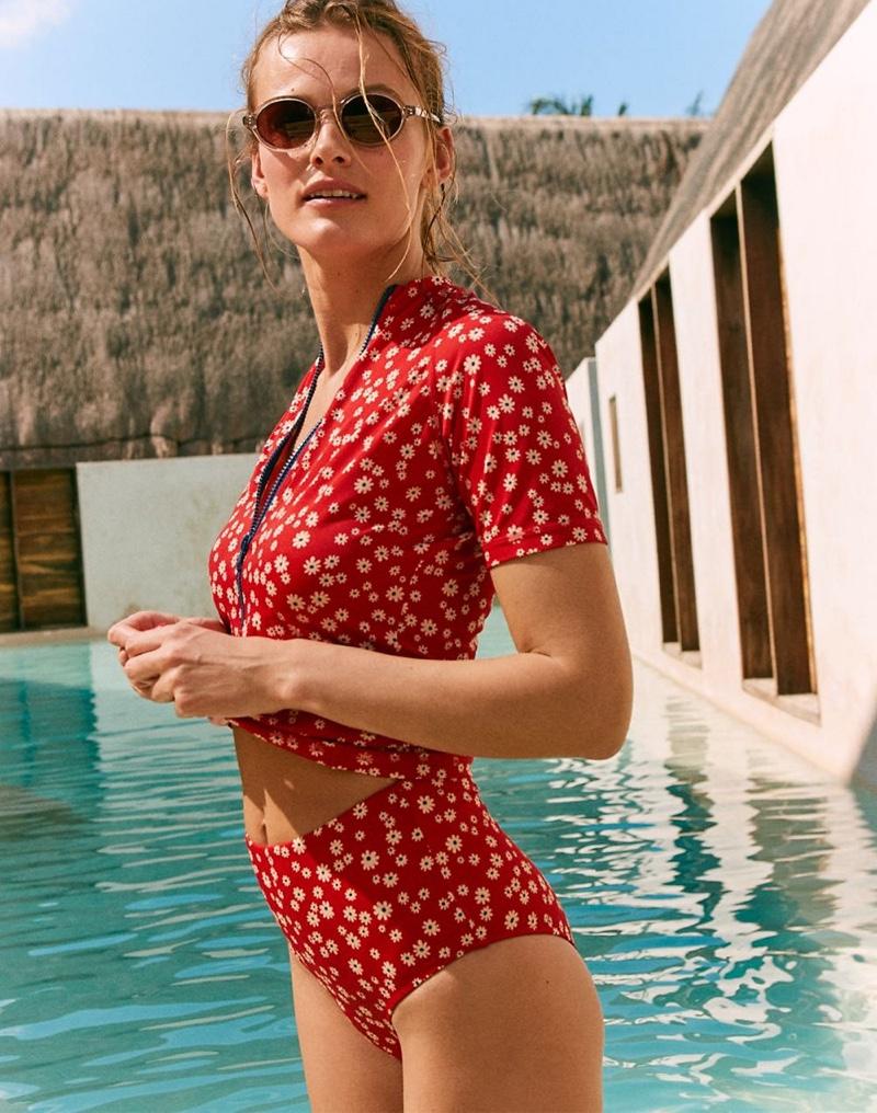 Madewell Second Wave Short-Sleeve Rash Guard $59.50 and Retro High-Waisted Bikini Bottom $45