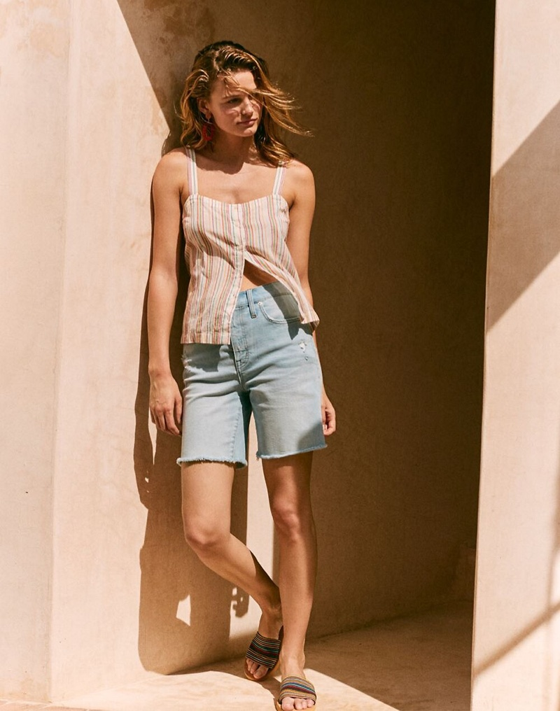 Madewell Button-Front Cami Tank $58 and High-Rise Mid-Length Denim Shorts $69.50