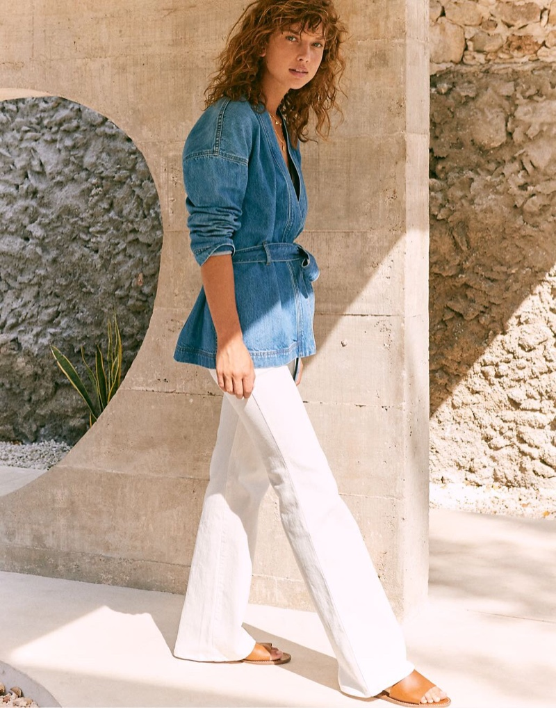 "Madewell Denim Wrap Jacket $128, 11"" High-Rise Flare Jeans $128 and The Boardwalk Post Slide Sandal $49.50"