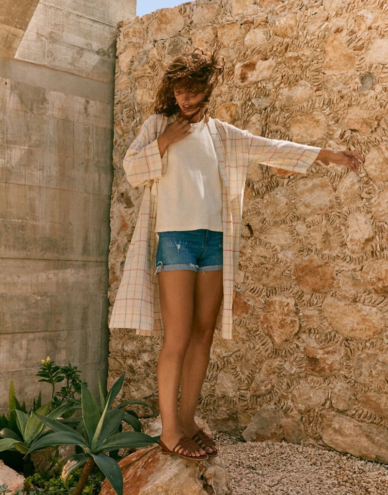 Madewell Print Robe Jacket $98, High-Rise Denim Shorts $72 and The Maya Huarache Sandal $98