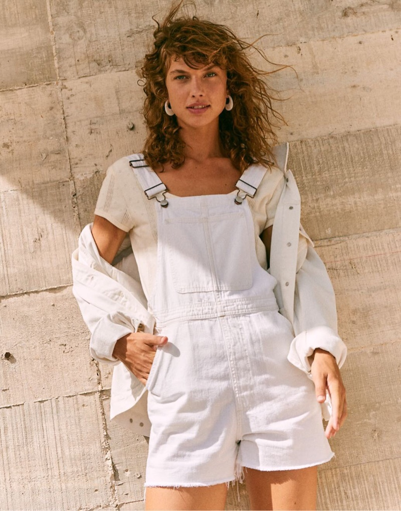 Madewell Pinyon Short Overalls $118, The Oversized Jean Jacket $128 and Pointelle Ribbed Tee $39.50