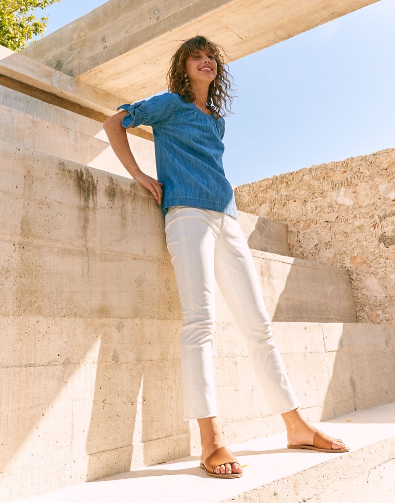 Madewell Denim Tie-Cuff Shirt $75, The High-Rise Slim Boyjean $128 and The Maya Huarache Sandal $98