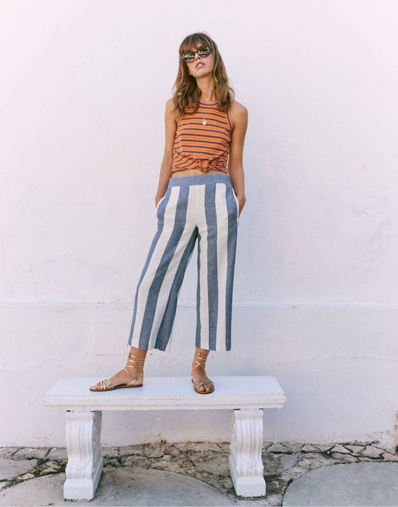 Madewell Audio Knot-Front Tank Top $39.50, Huston Pull-On Crop Pants $69.50 and Griffith Sunglasses $65
