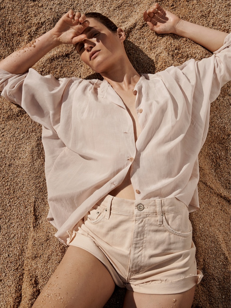 Dressed in white, Vivien Solari fronts Mango Committed spring-summer 2019 campaign