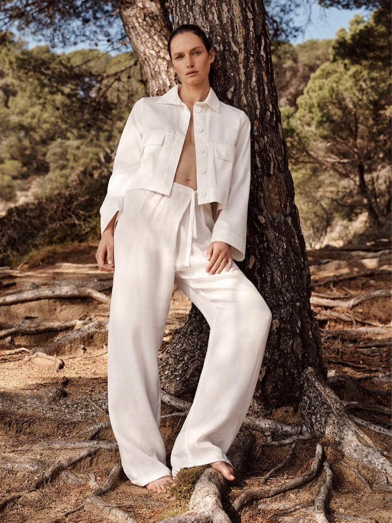 Model Vivien Solari wears look from Mango Committed spring-summer 2019 collection