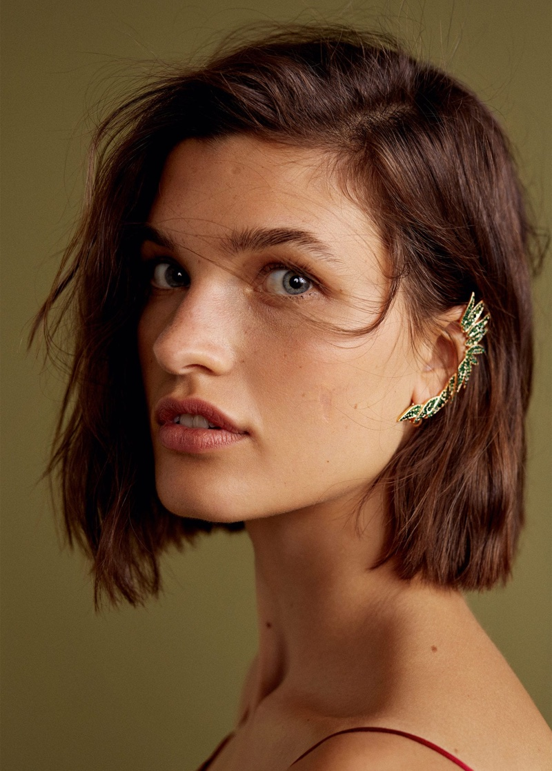 Mango Gala Collection Crystal Faceted Earcuff