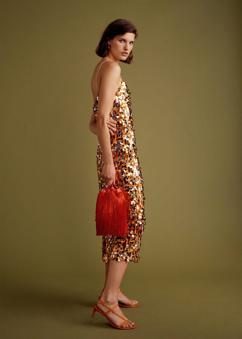 Julia Van Os models Mango Gala sequined mini dress