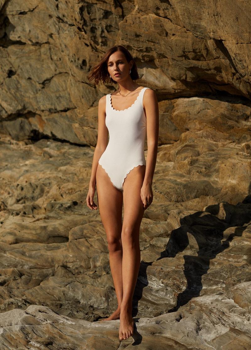 Mango Scalloped Swimsuit