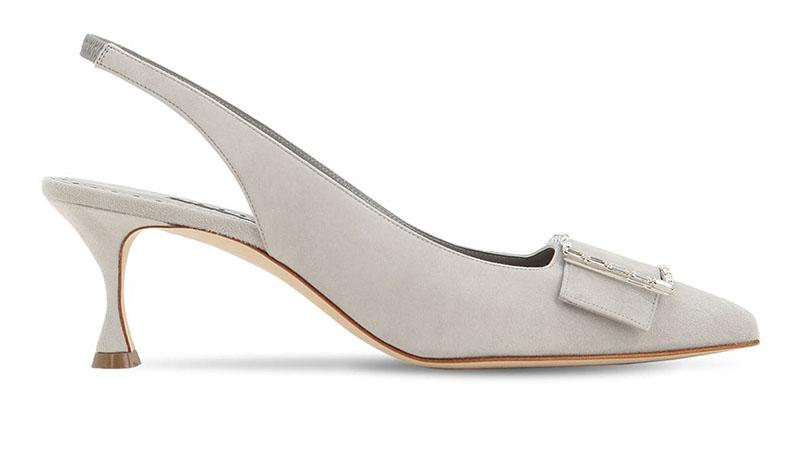 Manolo Blahnik x LVR Exclusive Dolores Suede Pumps in Pearl Grey $925