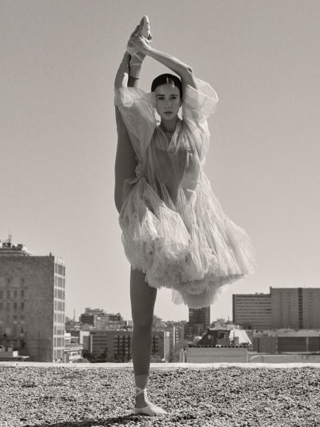 Maria Pedraza poses in ballet inspired Dior look with Bulgari jewelry