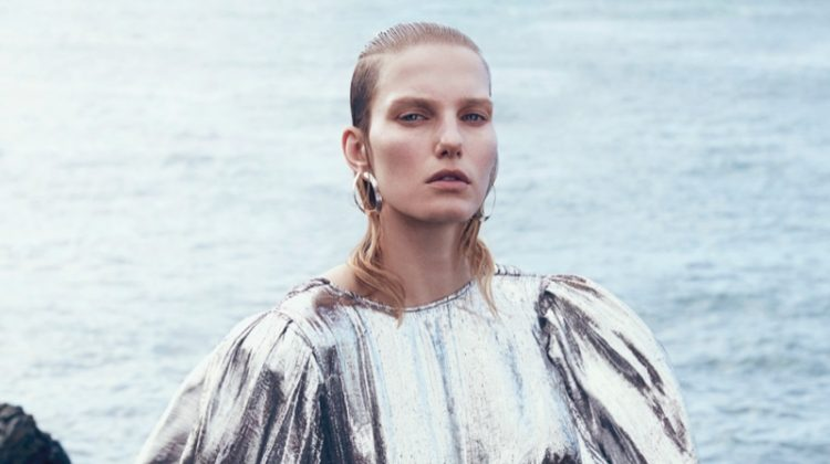 Marique Schimmel Wears Futuristic Metallics for How to Spend It Magazine