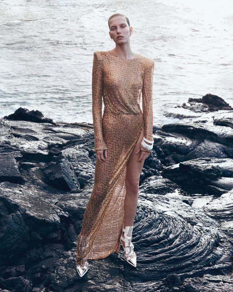 Marique Schimmel Wears Futuristic Metallics for How to Spend It Magazine