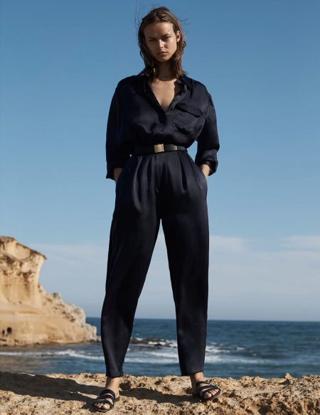 Model Birgit Kos poses in Massimo Dutti Volume II Limited Edition Collection