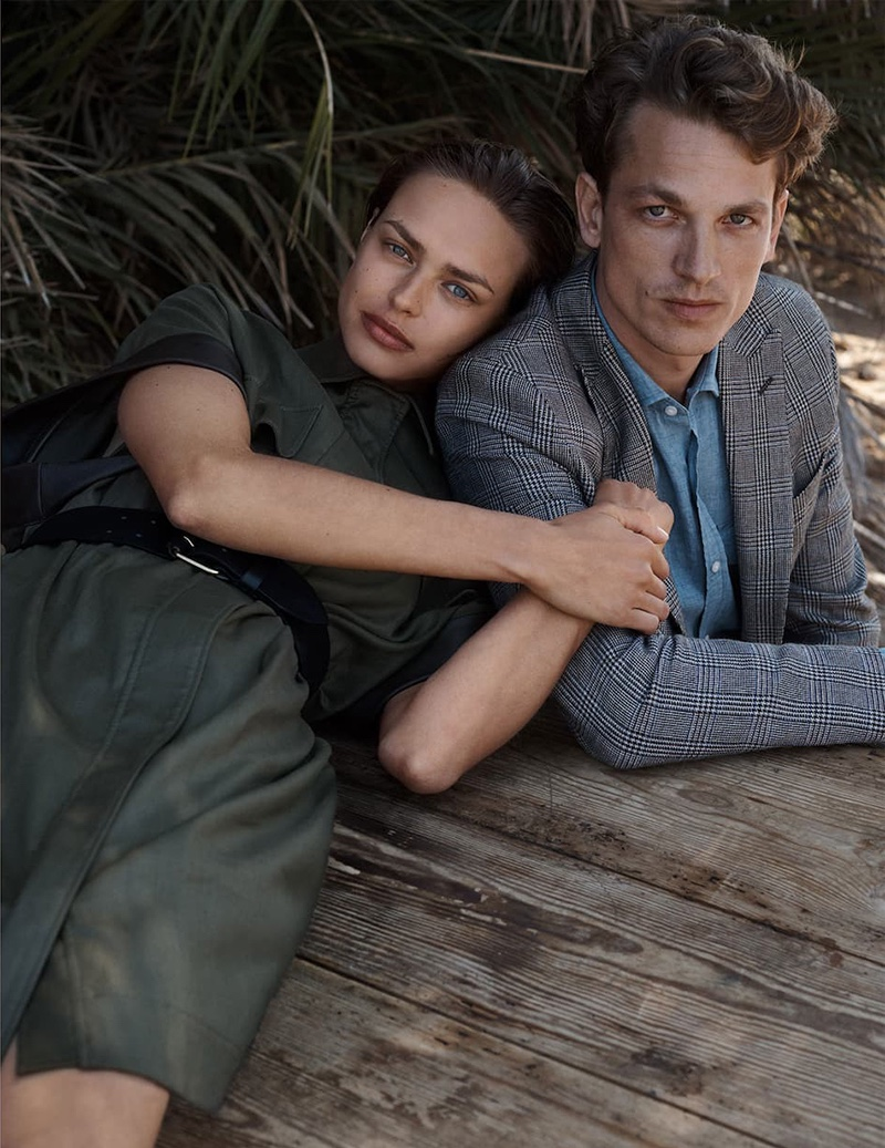Birgit Kos poses with Hugo Sauzay for Massimo Dutti Limited Edition Volume II Collection