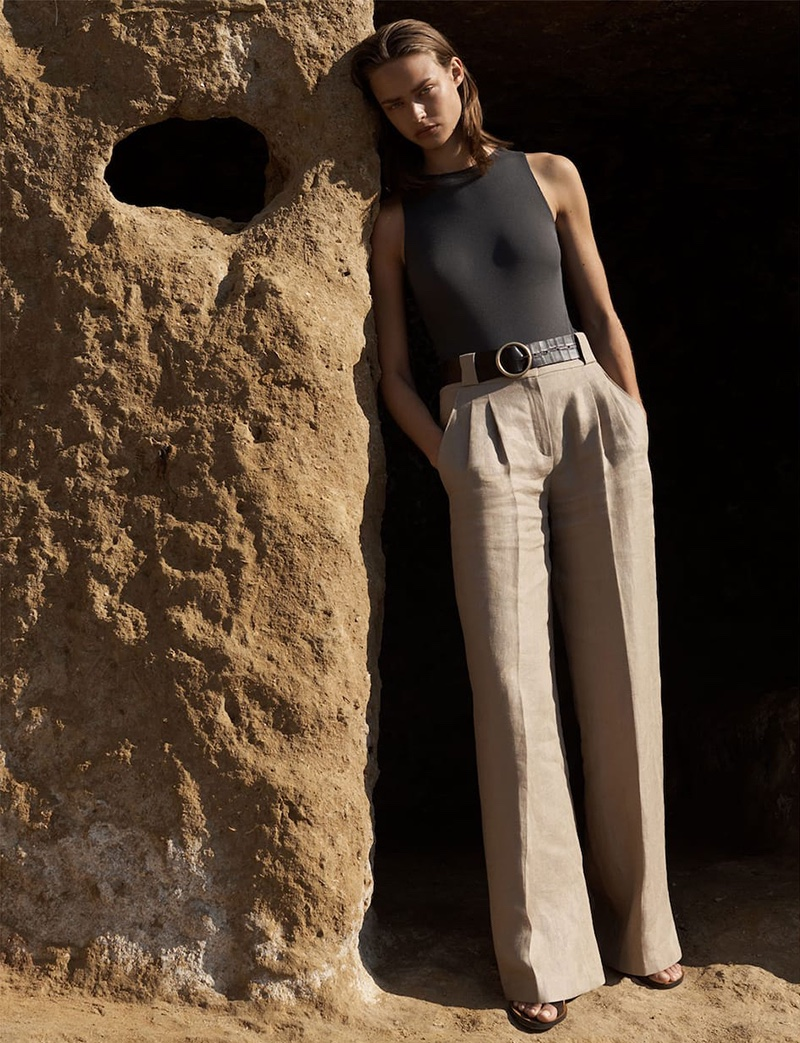 Massimo Dutti Limited Edition Bodysuit and Wide Fit Darted Pants