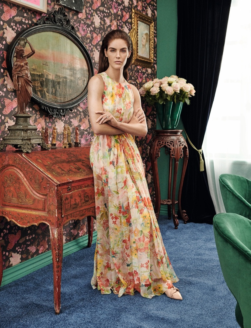 Hilary Rhoda poses in Max Mara Special Occasions spring-summer 2019 collection
