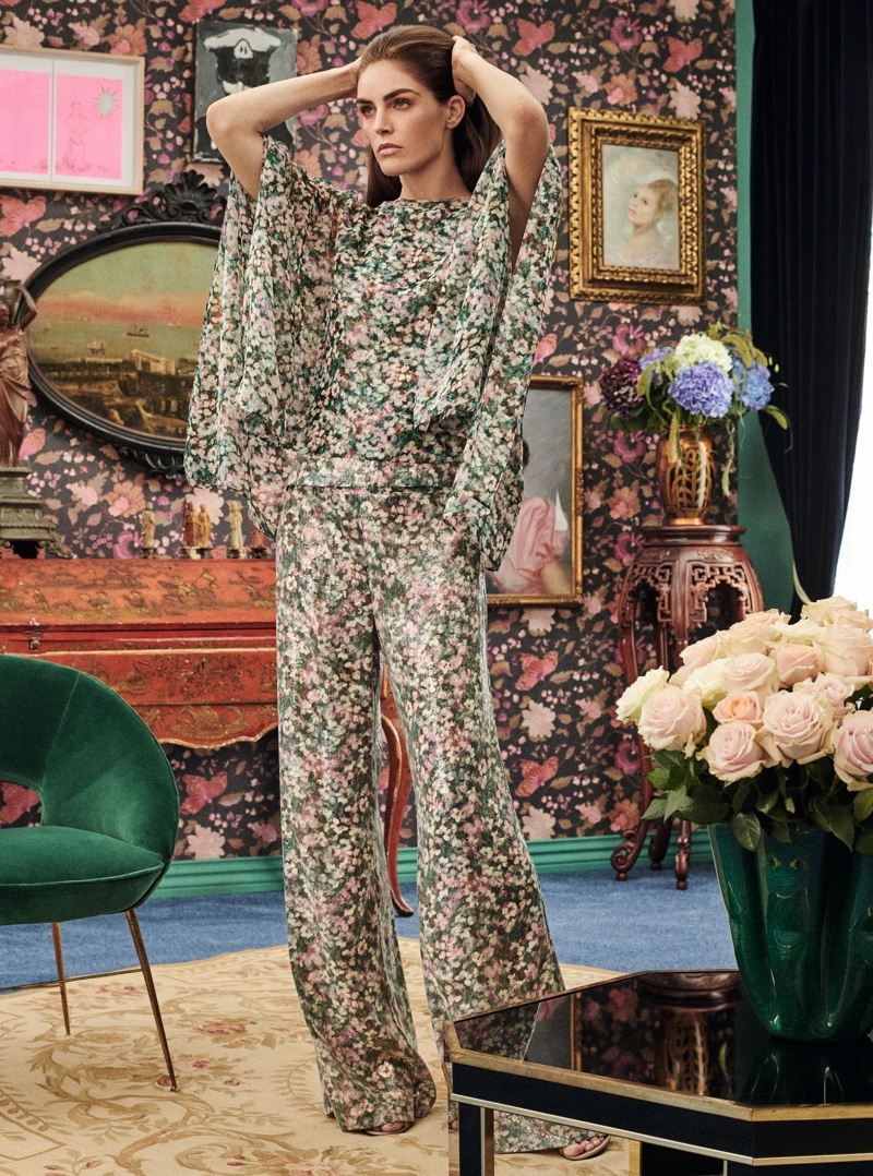 Wearing florals, Hilary poses in Max Mara spring-summer 2019 special occasion lookbooks