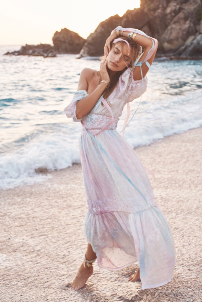 Maya Stepper poses at the beach for LoveShackFancy Summer of Love 2019 campaign