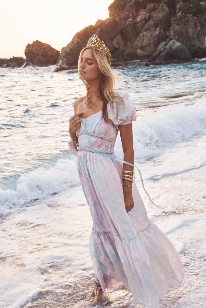 Model Maya Stepper poses in St. Barts for LoveShackFancy summer 2019 campaign