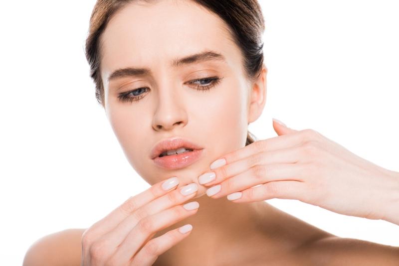 Model Concerned Skin Breakout Beauty