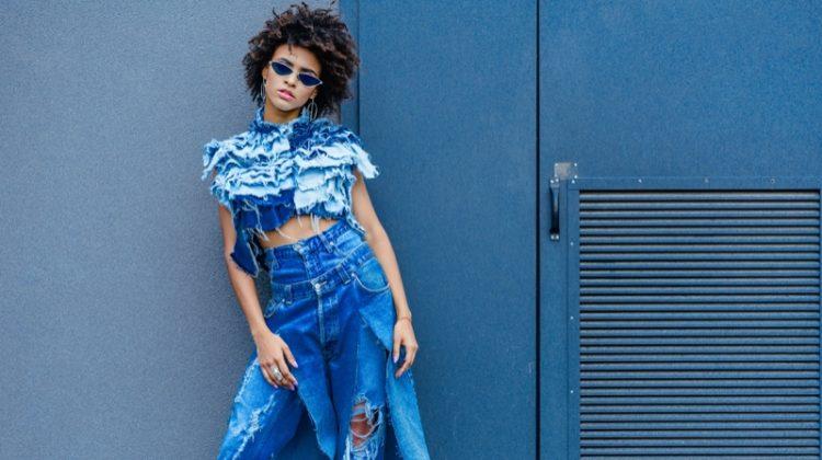 Model Distressed Custom Denim Afro Woman