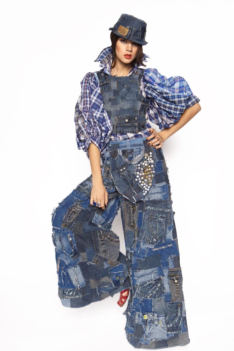 Model Patchwork Denim High Fashion