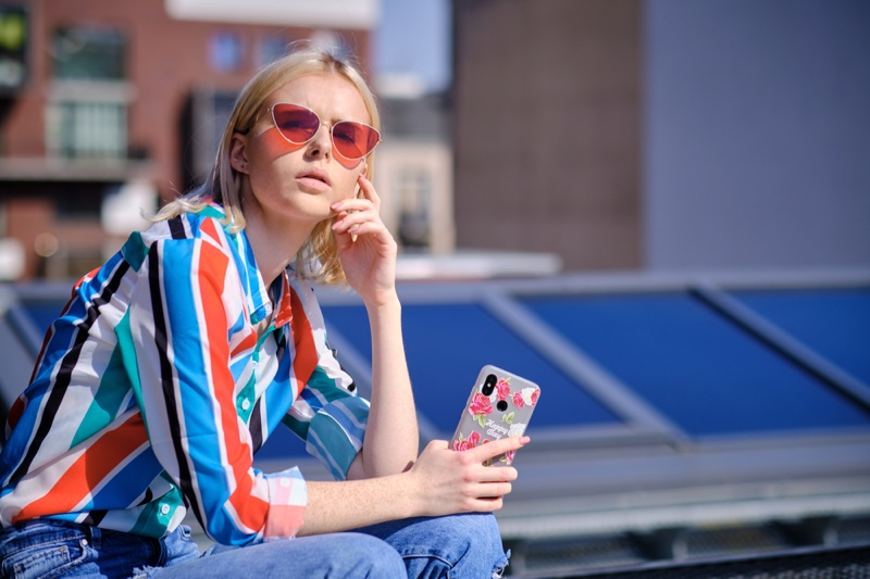 Model Striped Shirt Sunglasses Phone Case
