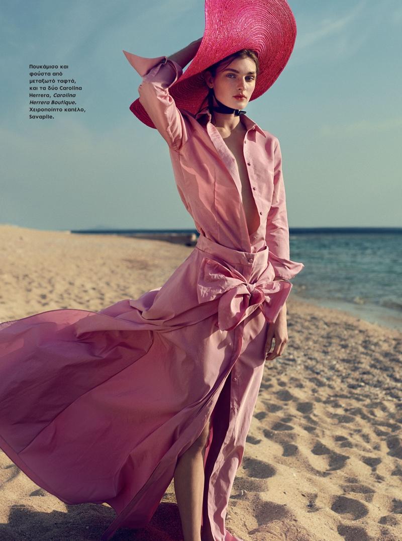 Nastya Abramova Wears Glam Beach Looks for ELLE Greece