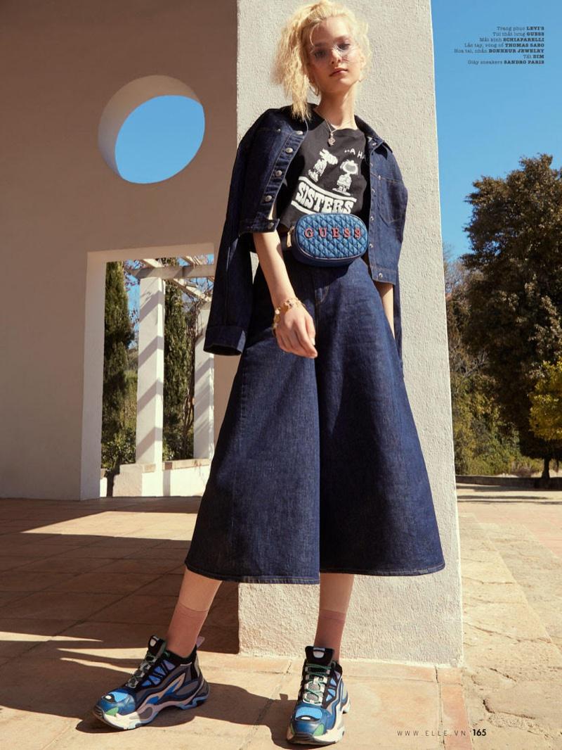 Nastya Zhuleva Tries On Denim Fashions for ELLE Vietnam