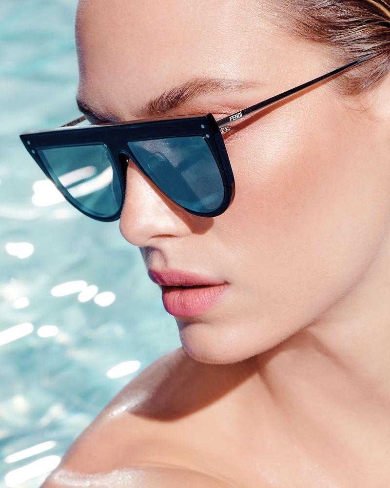 Fendi Flat-Top Mirrored Shield Sunglasses $430