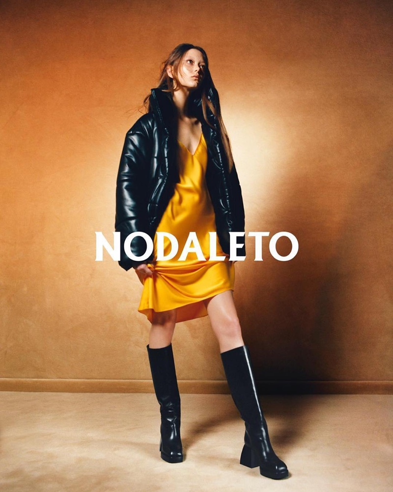 Wearing boots, Sara Grace Wallerstedt front Nodaleto campaign